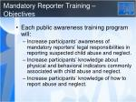mandatory reporter training objectives