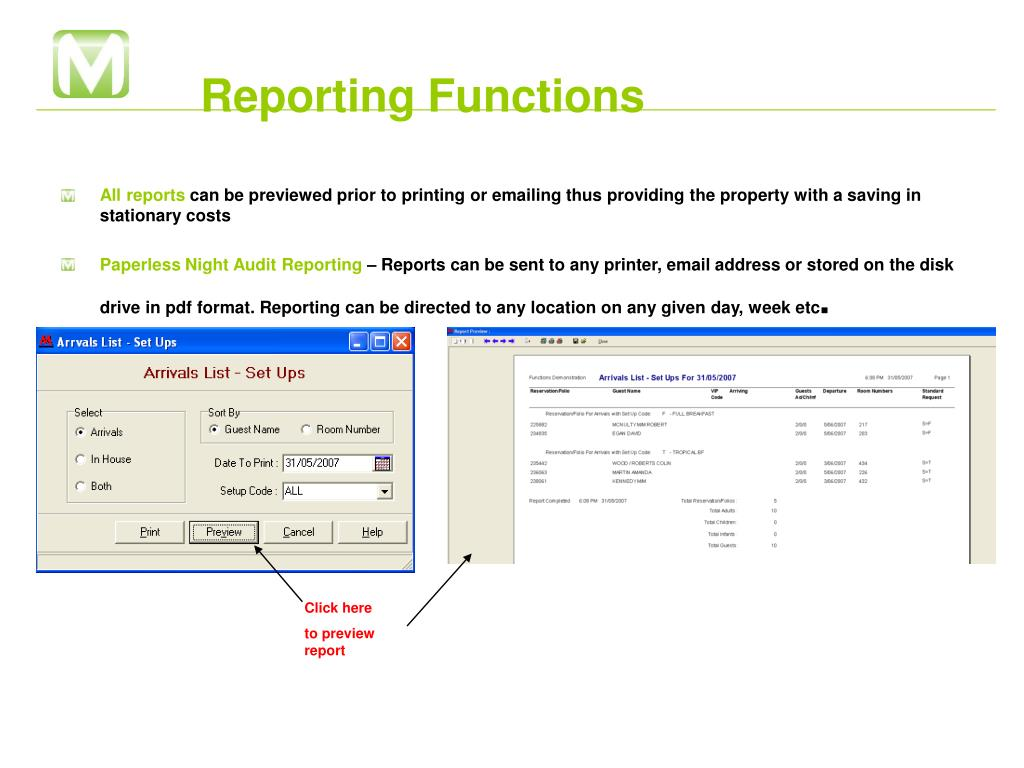 Reporting Functions