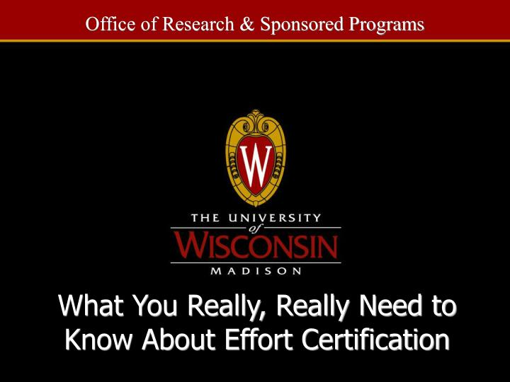 what you really really need to know about effort certification n.