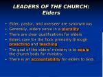 leaders of the church elders