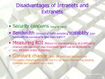 disadvantages of intranets and extranets