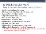 10 deadliest civil wars based on cow battle deaths alone but see drc war