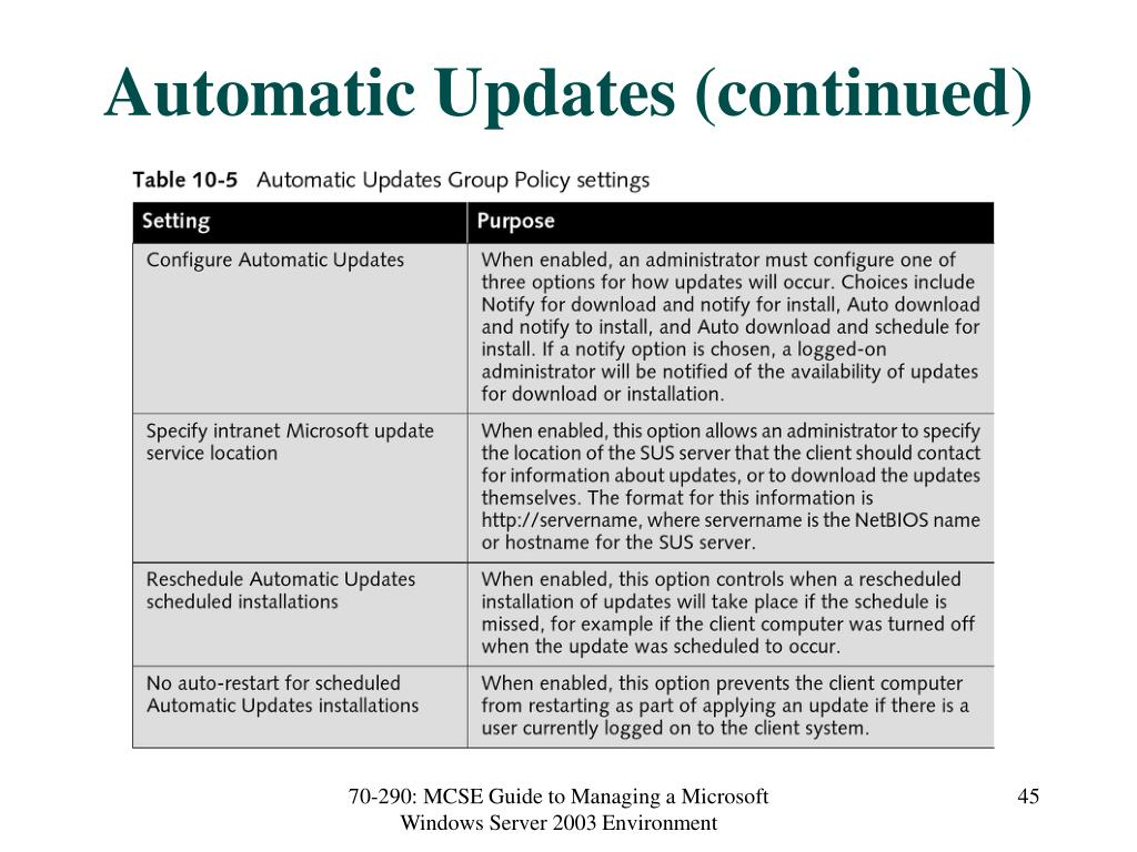 Automatic Updates (continued)