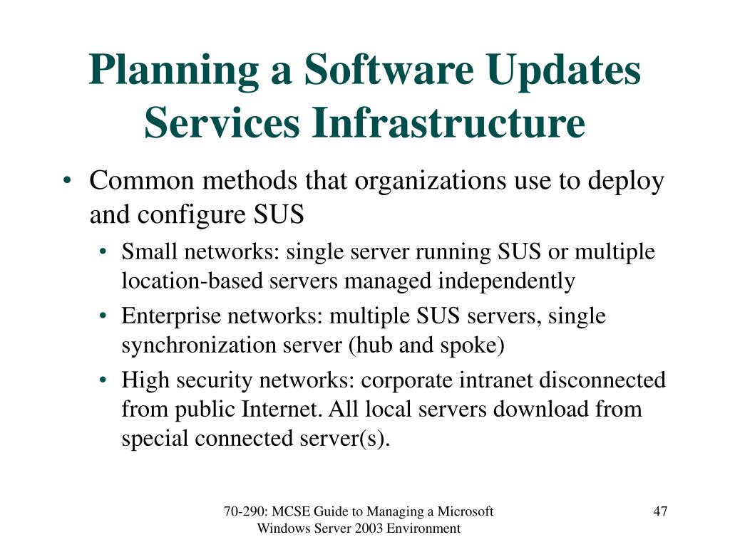 Planning a Software Updates Services Infrastructure