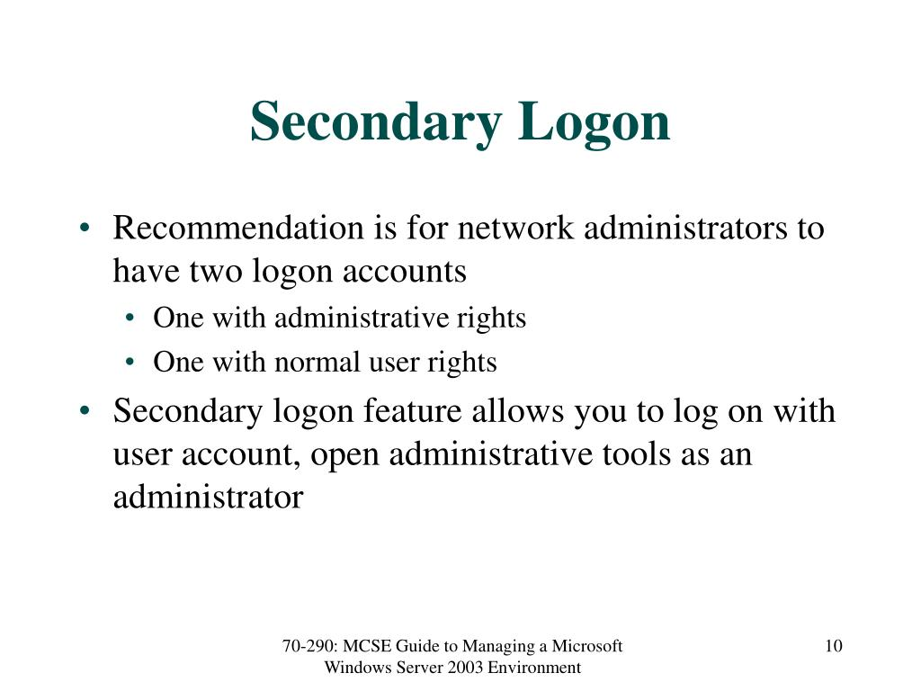Secondary Logon