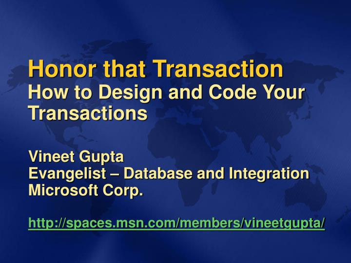 honor that transaction how to design and code your transactions n.