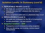isolation levels in summary cont d