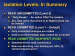 isolation levels in summary