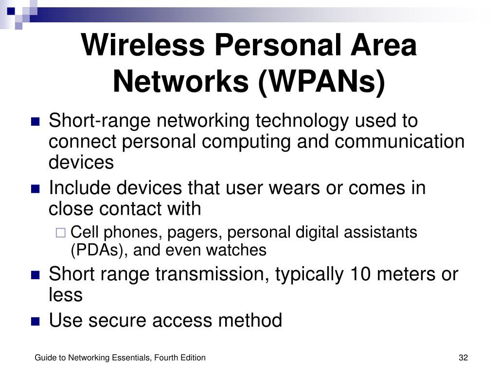 Wireless Personal Area Networks (WPANs)