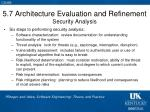 5 7 architecture evaluation and refinement security analysis