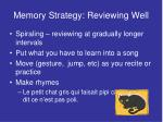 memory strategy reviewing well