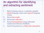 an algorithm for identifying and extracting sentiment