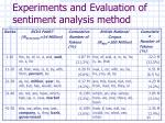 experiments and evaluation of sentiment analysis method2