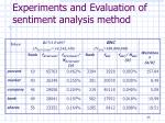 experiments and evaluation of sentiment analysis method3