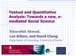 textual and quantitative analysis towards a new e mediated social science