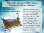 actions leading out of the valley suggestions from hebrews5