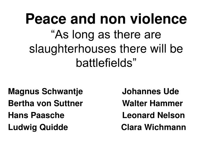 Peace and non violence