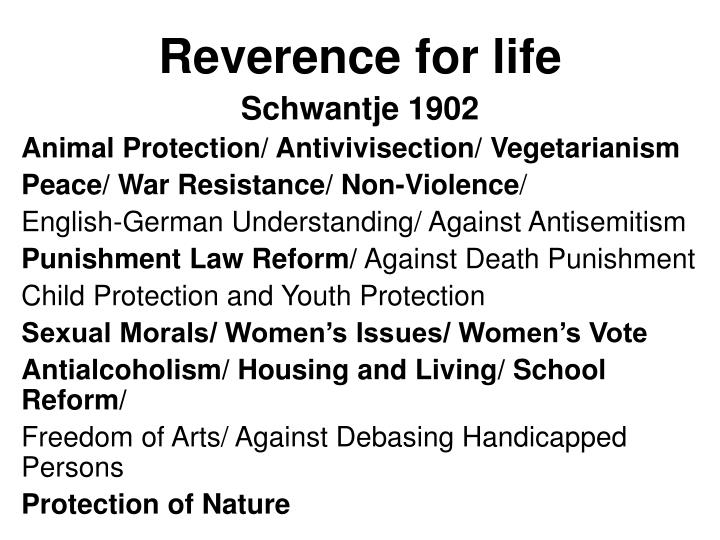 Reverence for life