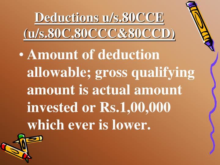 Deductions u/s.80CCE (u/s.80C,80CCC&80CCD)