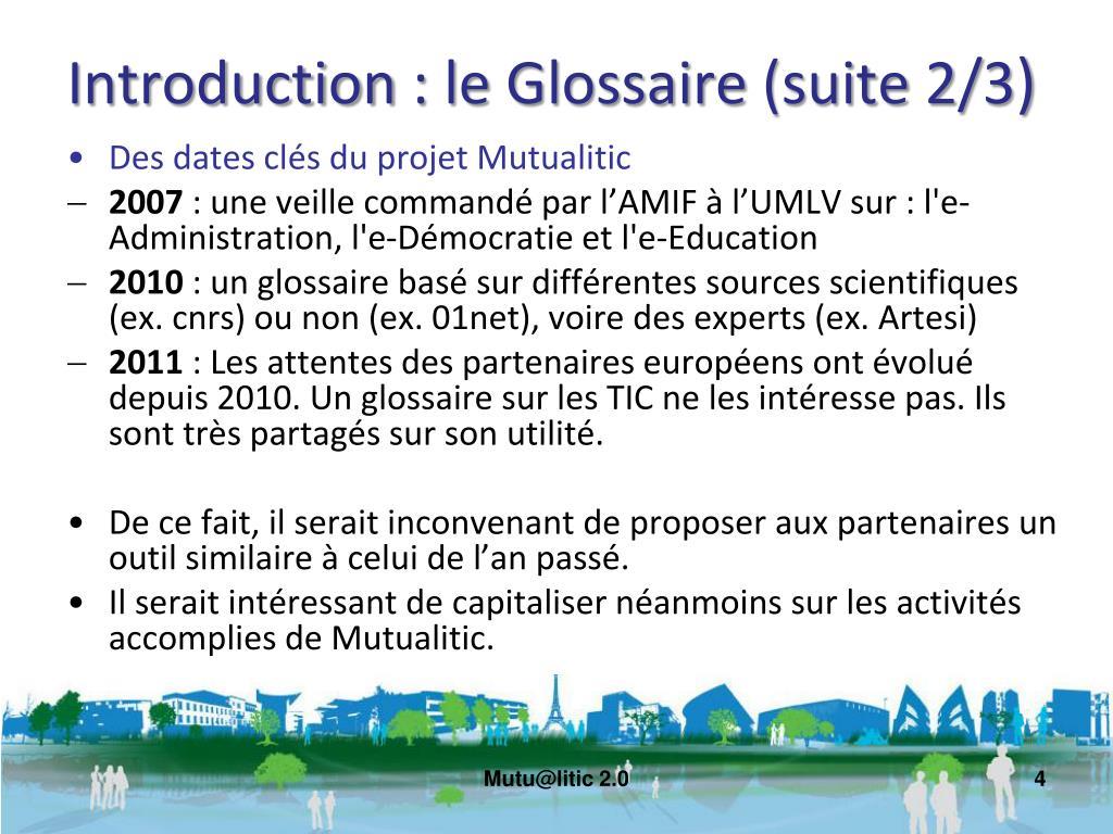 Introduction : le Glossaire (suite 2/3