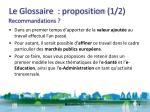 le glossaire proposition 1 2