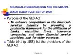 financial modernization and the gramm leach bliley glb act of 1999