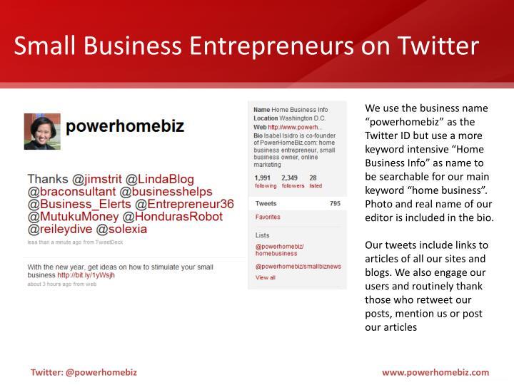 Small Business Entrepreneurs on Twitter