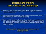 success and failure are a result of leadership