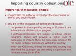 importing country obligations