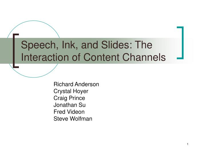speech ink and slides the interaction of content channels n.