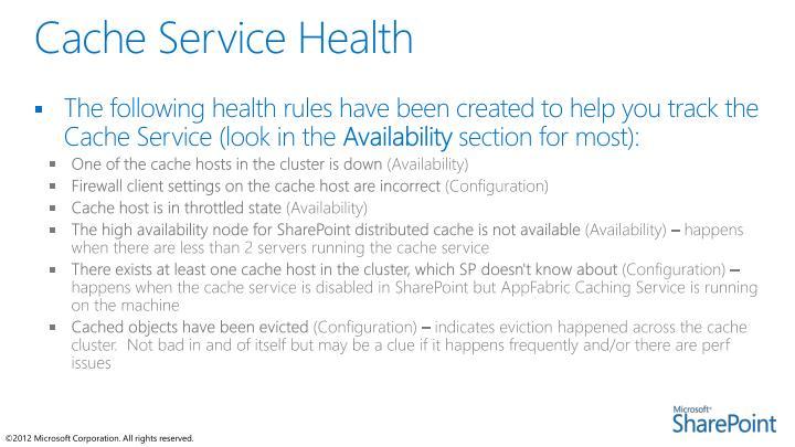 Cache Service Health