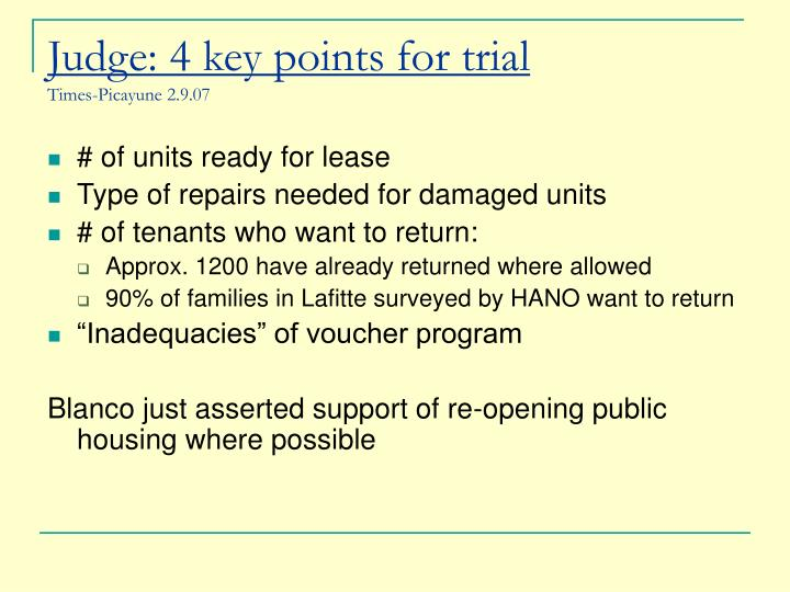 Judge: 4 key points for trial