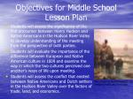objectives for middle school lesson plan