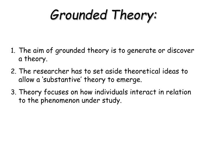 The aim of grounded theory is to generate or discover a theory.