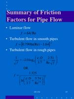 summary of friction factors for pipe flow