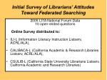 initial survey of librarians attitudes toward federated searching