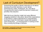 lack of curriculum development