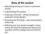 aims of the session