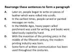 rearrange these sentences to form a paragraph
