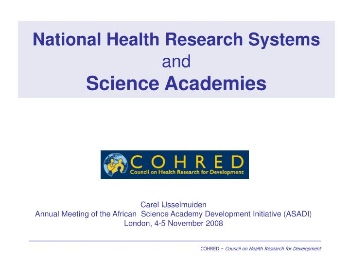national health research systems and science academies n.