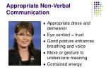 appropriate non verbal communication