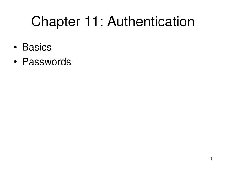 chapter 11 authentication n.