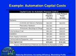example automation capital costs