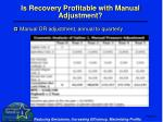 is recovery profitable with manual adjustment