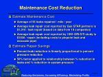 maintenance cost reduction