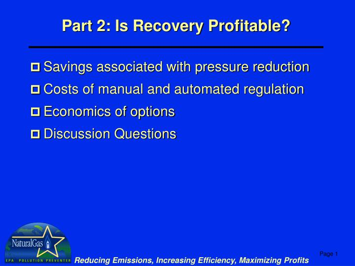 part 2 is recovery profitable n.
