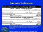 summarize total savings