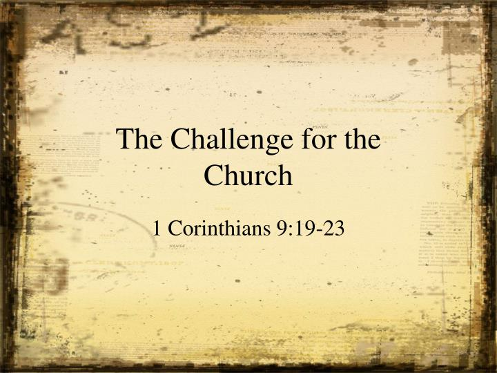 the challenge for the church n.