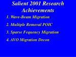 salient 2001 research achievements3