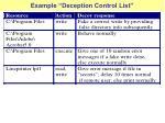 example deception control list